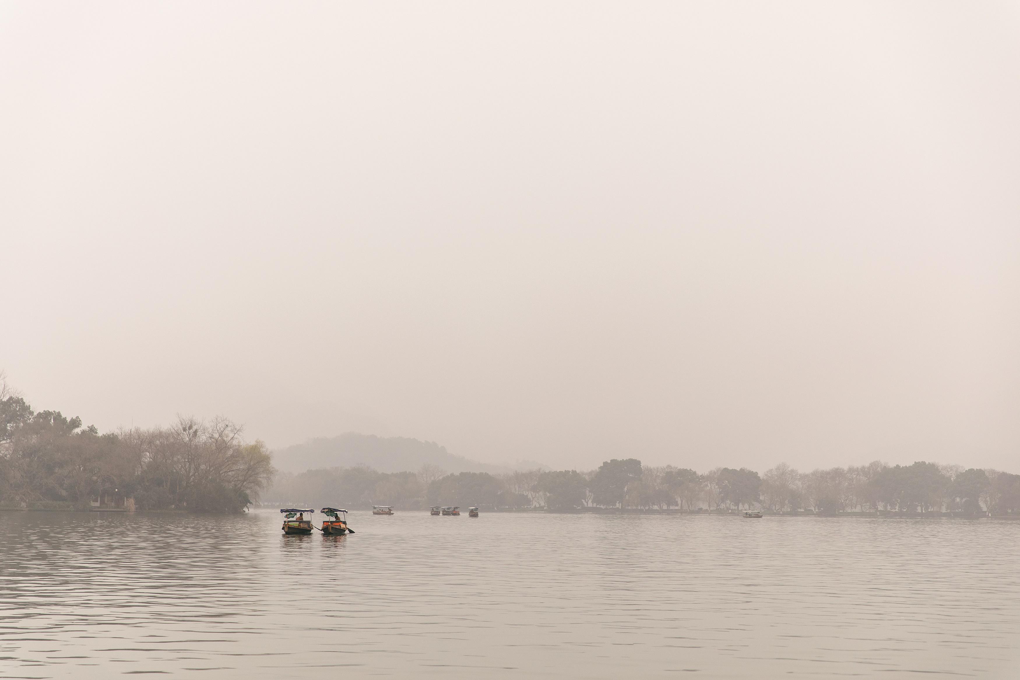 Chinese boats on lake