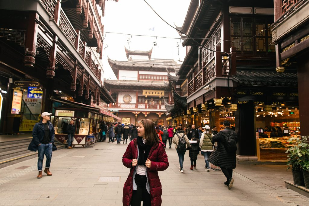 girl walking at the Grand Bazaar in Shanghai