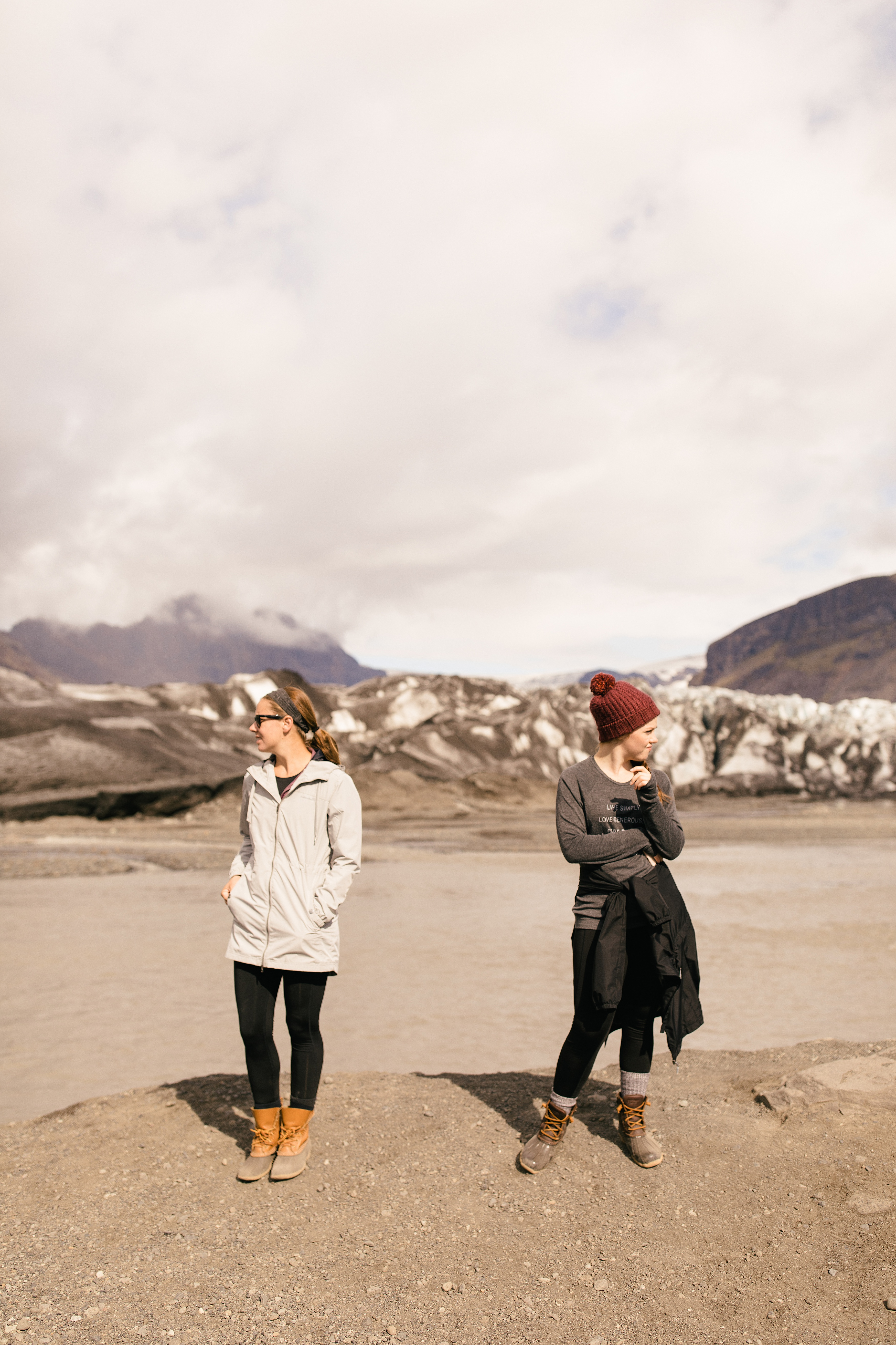2 women standing on a glacier in Iceland
