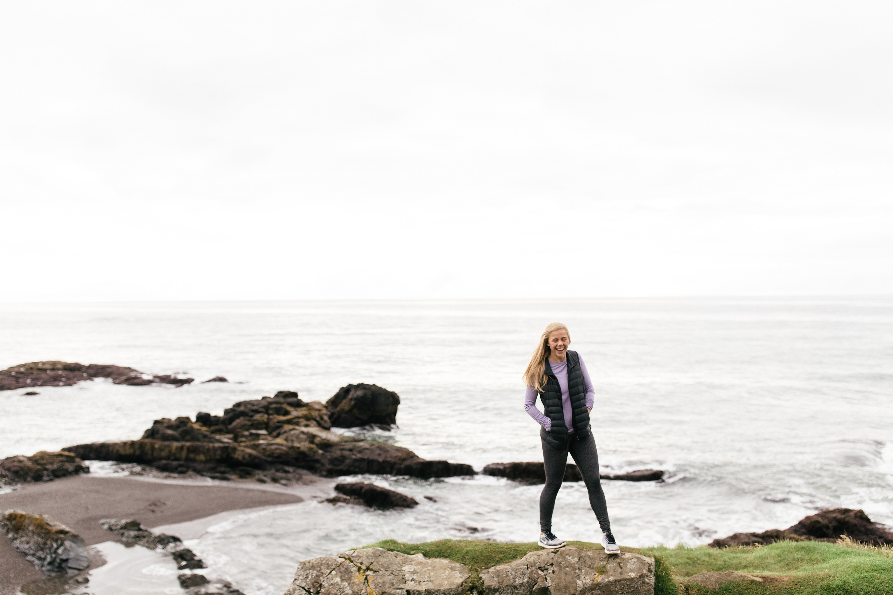 girl walking in iceland