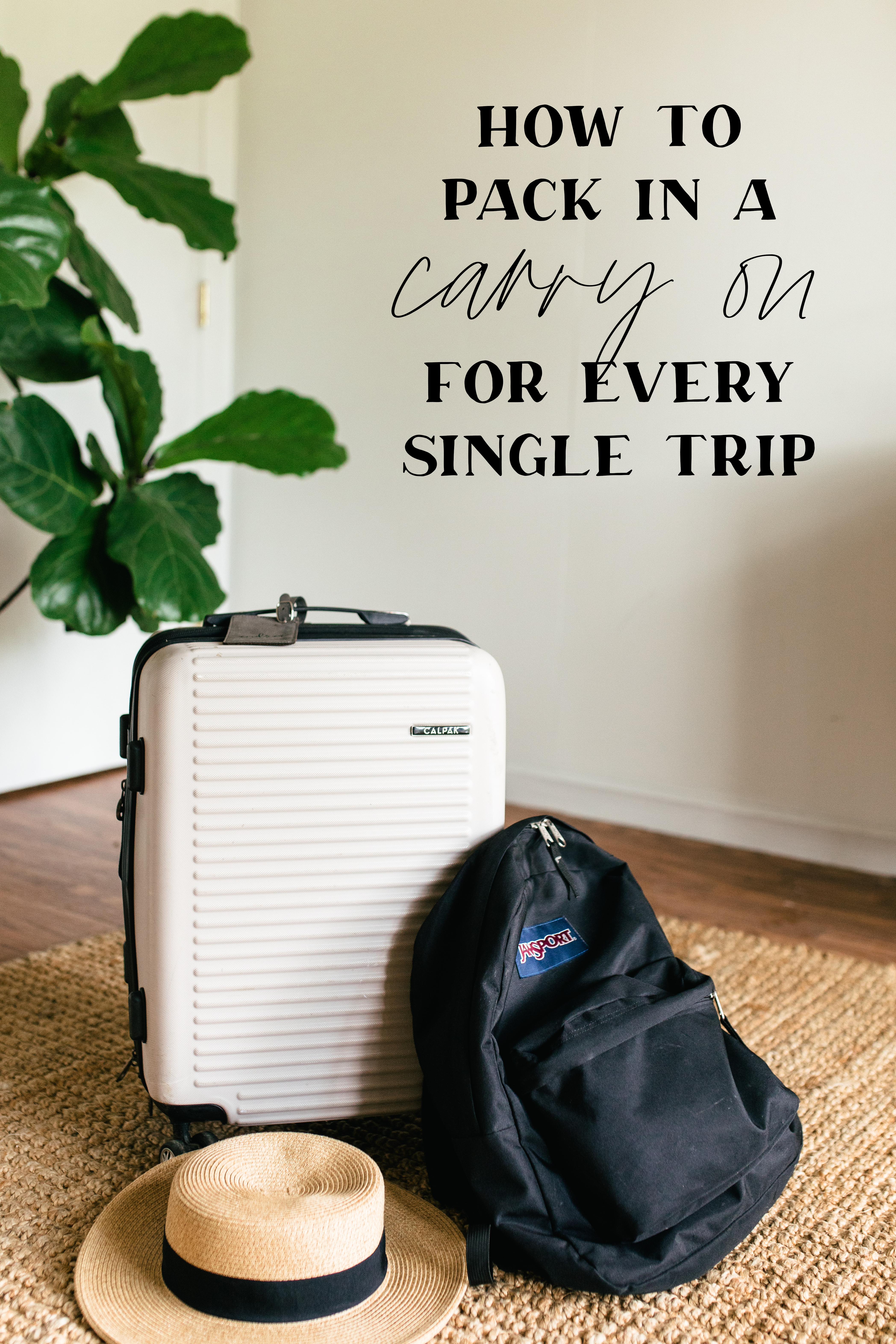 suitcase and backpack in room with text overlay