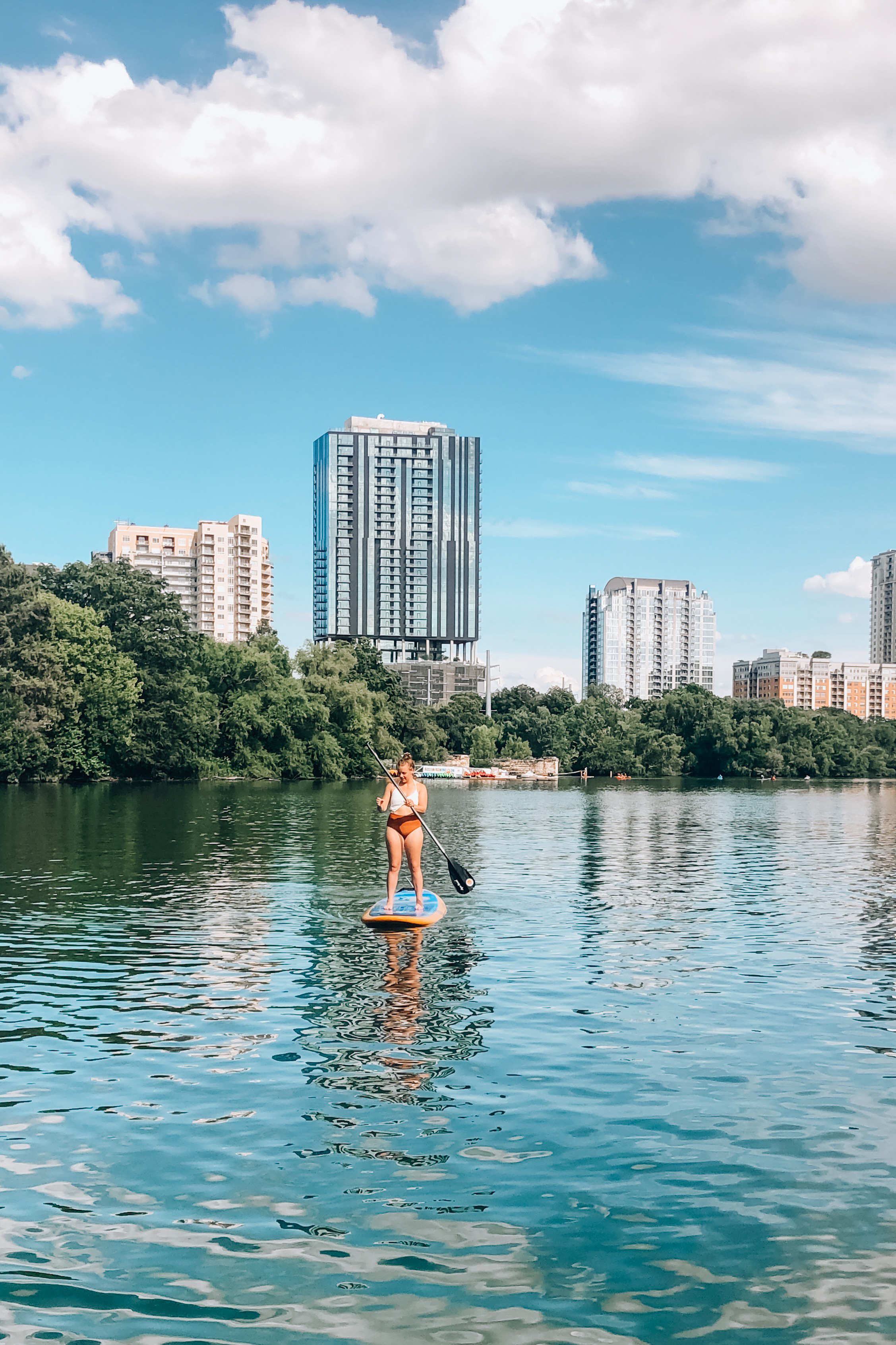 Paddle boarding on the Colorado River in Austin, Texas