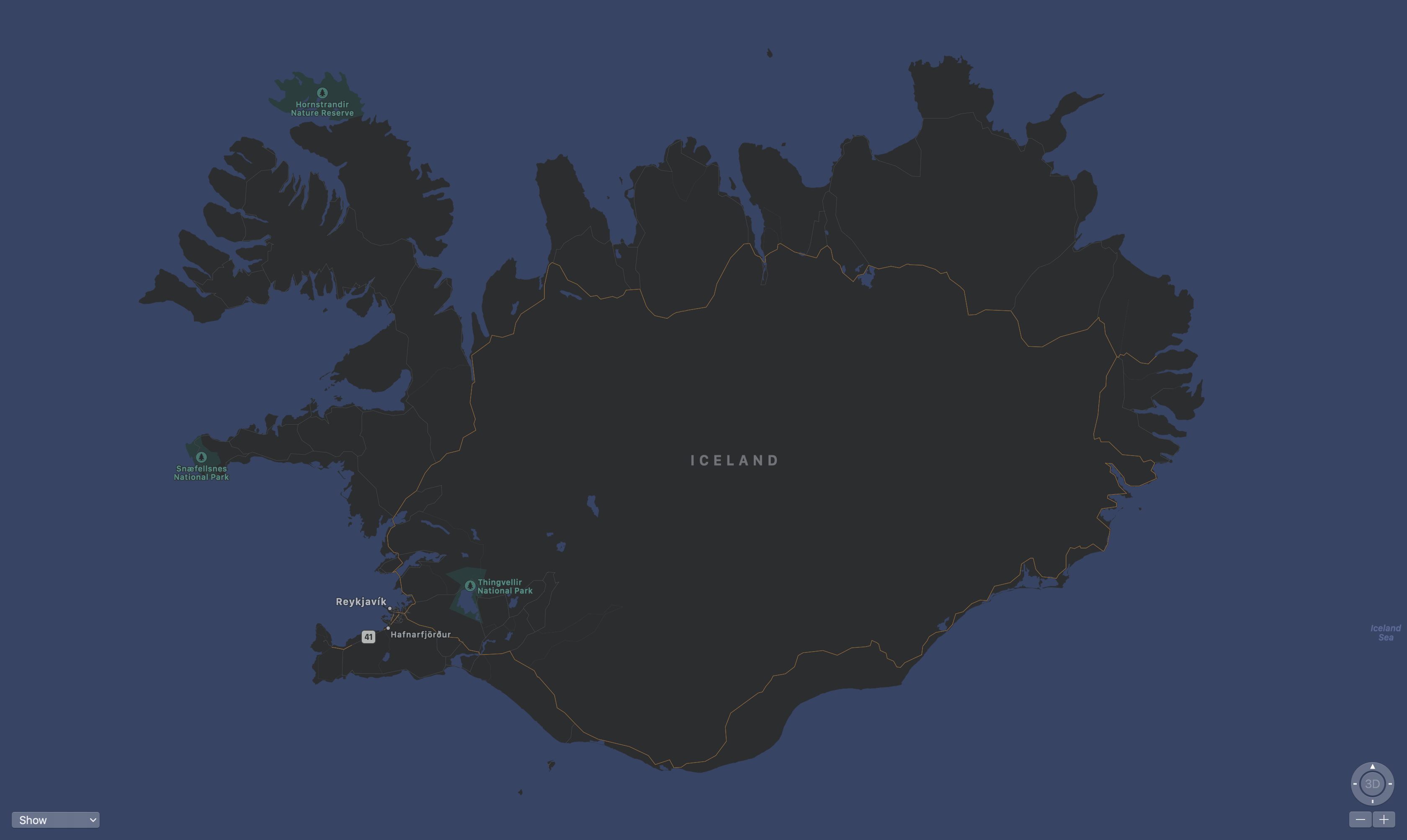 map screen shot of Iceland