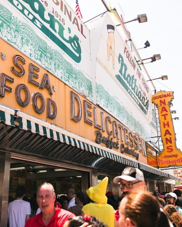 Nathans Hot Dog stand on Coney Island